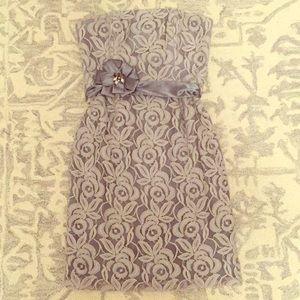 Pretty gray lace strapless dress- size six